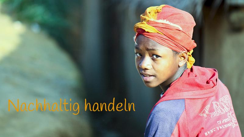 Junge, Text: Nachhaltig handeln