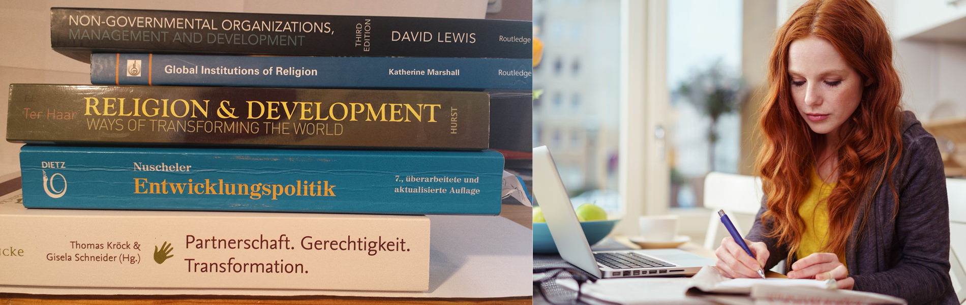 Studentin am Laptop und Development Bücher