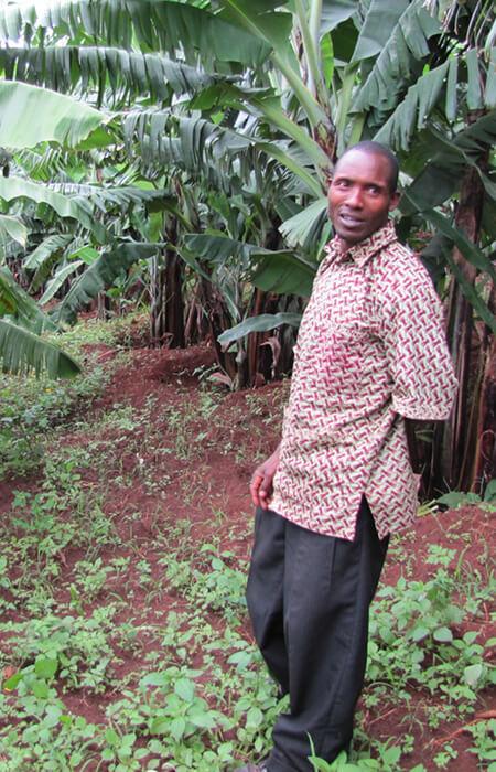 Pflanzen, Feld mit Mann in Afrika
